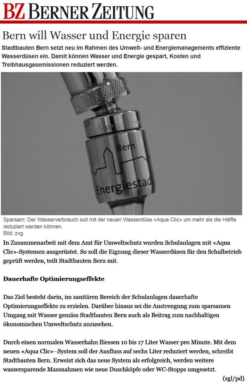 Bern will Wasser und Energie sparen - Berner Zeitung