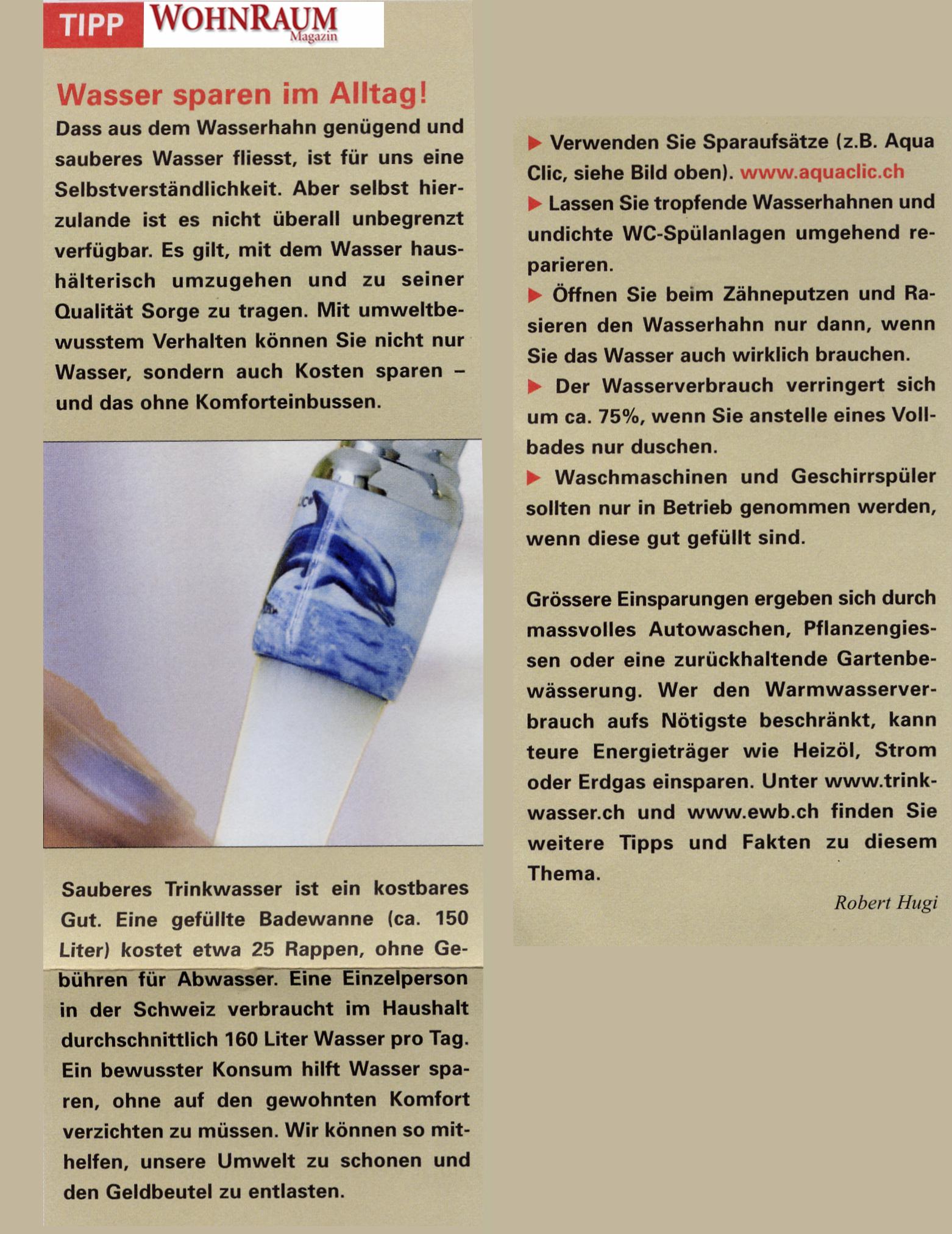 Wohnraum Tipps zum Wassersparen