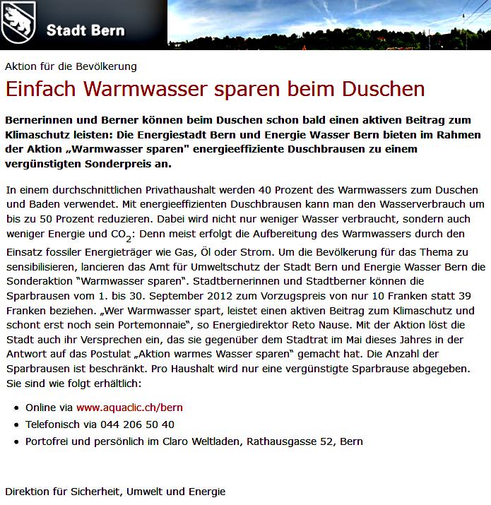 Einfach Warmwasser sparen beim Duschen - Stadt Bern