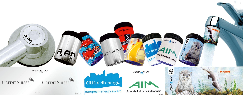 image sponsoring-aquaclic wassersparer / watersavers / économiseurs d'eau Credit Suisse, AIM, WWF, ,Migros, etc.