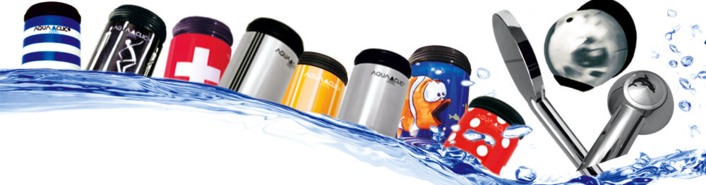 watersavers for taps, faucets, schowers in various colours and stainless steel