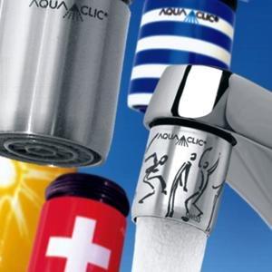 Dekorative Energie- und Wassersparer, passen an jeden Wasserhahn, weicher Strahl, 6 Liter pro Minute statt 10 l/min. Sparen ca. 50.- pro Person und Jahr.