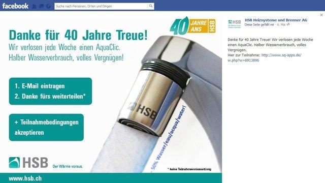 HSB Heizsysteme benützt AquaClic u.a. als Preisgewinn bei einem Wettbewerb