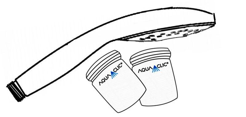 Wassersparender Duschkopf Variété und 2 Aquaclic