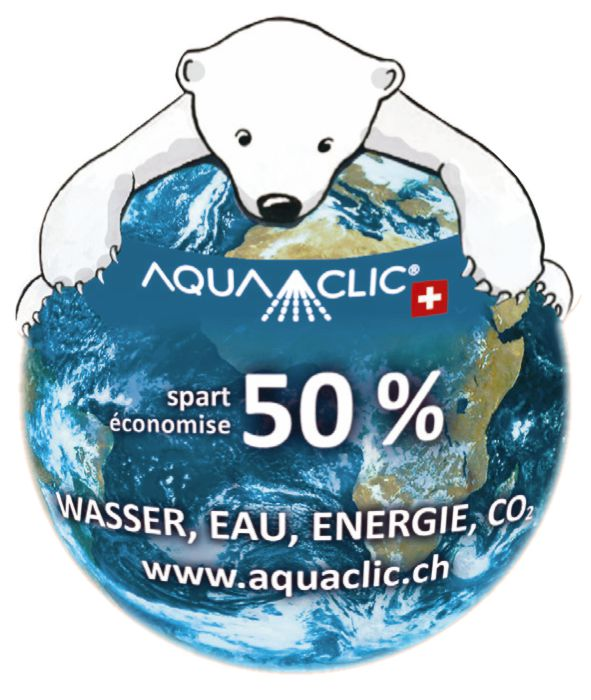 Umweltinformationsaufkleber Eisbär «spart/économise 50%»