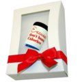 Gift box with window, red satin bow tie