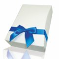 Giftbox blue satin ribbon