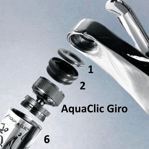 schrauben Sie den Universaladapter (2) an den AquaClic Giro, schrauben Sie den AquaClic (6) an den Giro Schrauben Sie beide Teile in den Hahn inkl. Adapterdichtung (1)